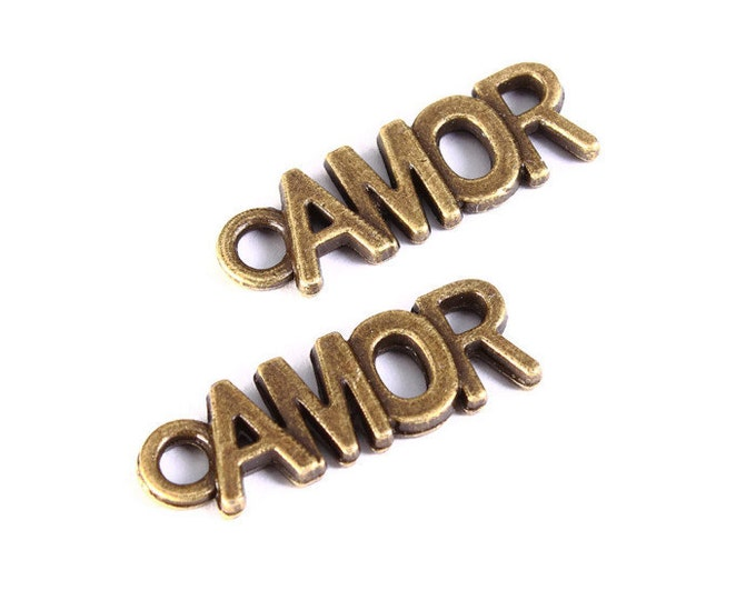 5 Amor charm pendant antique brass antique bronze 21mm x 7mm (1252) - Flat rate shipping