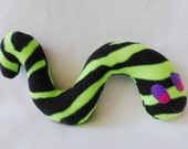 Dog Toy Wiggle Worm Green & Black Print With Squeaker