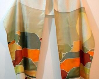 Tallit (Negev 17163) 70.87 in x 15.75 in (180cm x 40cm) Raw silk and hand painted Habotai silk