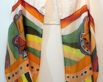 Tallit  Hamsa 17178 -  71 in x 19.29 in (180 cm x 49 cm) Hand Painted natural silk and Stone silk.