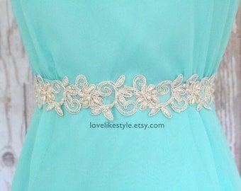 Gold Flower and Pearl Beading  Lace with Champagne Ribbon Sash or Headband, Bridal Sash, Bridesmaid Sash, Flower Girl Sash, SH-43