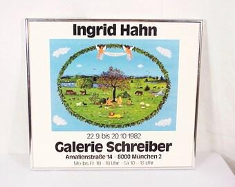 Garden of Eden, Adam & Eve, Ingrid Hahn Galerie Schreiber Framed Artist Gallery Show, Germany, 1982