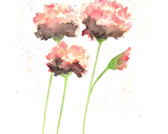 Watercolor flowers, french country, watercolor painting, flower painting, peach art, watercolor poppies, flower art, poppy print, 8X10 print