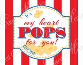My Heart Pops For You - Valentine Tag - Popcorn Favor - DIY Printable Party