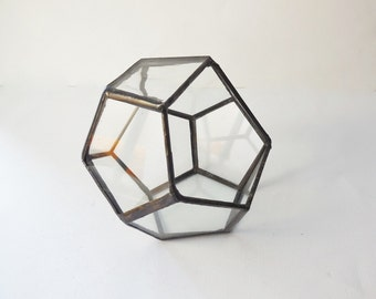 Terrarium, clear glass planter modern industrial geometric planter, dodecahedron plant holder. Made to order.