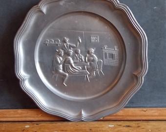 SALE   Rare vintage Pewter Wall Plate Tavern Sene