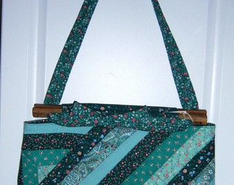 Green Calico Quilted Purse