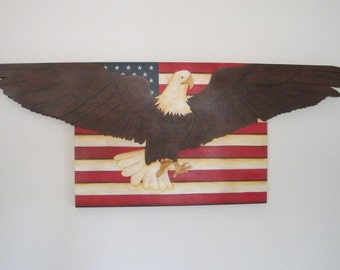 Handmade Patriotic American Flag With Eagle Wooden Wall Plaque