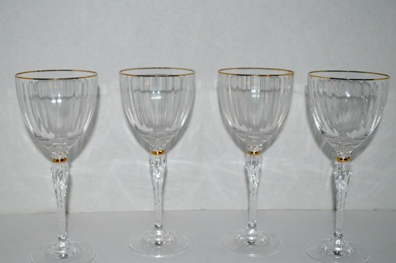 Crystal wine glasses set of four fine crystal by capecodgypsy for Thin stem wine glasses