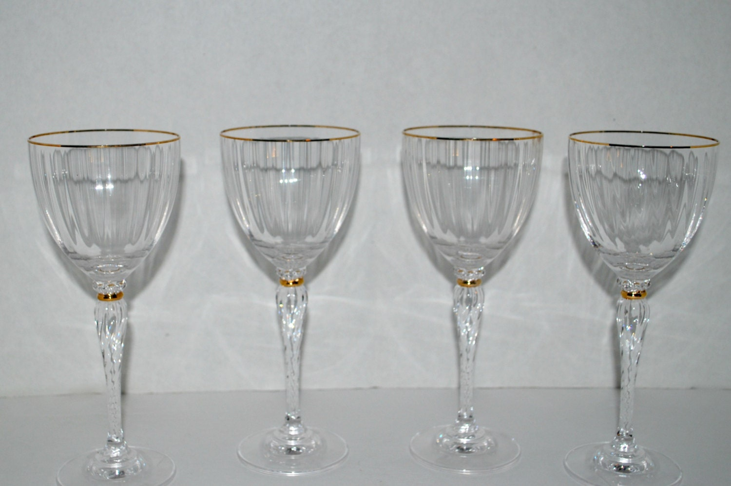 crystal wine glasses set of four fine crystal by capecodgypsy