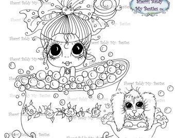INSTANT DOWNLOAD Digital Digi Stamps Big Eye Big Head Dolls Digi  My Besties Bath Time Buddies By Sherri Baldy