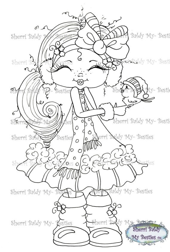 INSTANT DOWNLOAD Digital Digi Stamps Big Eye Big Head Dolls Digi Winder Dreams Besties IMG380 By Sherri Baldy