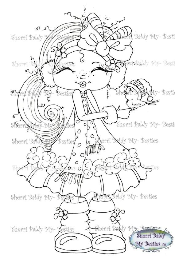 INSTANT DOWNLOAD Digital Digi Stamps Big Eye Big Head Dolls Digi Winder Dreams Besties IMG380 By Sherri Baldy