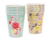12 Vintage Floral Party Paper Cups