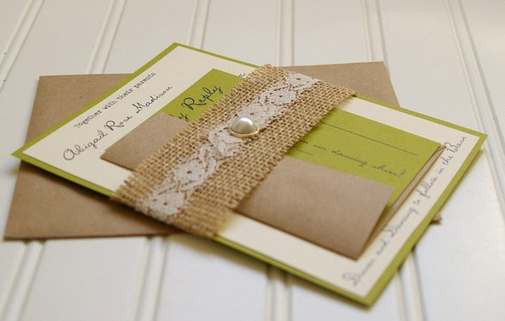 Custom Made Wedding Invitations: Items Similar To Burlap And Lace Wedding Invitations