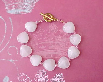 Hearts of Stone Bracelet-Quartz Hearts with Pink Crystal Spacer Beads