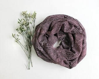 Infinity scarf, Snakeskin chiffon in lilac and black ,extra wide, lightweight. Gift for her. Cowl scarf.