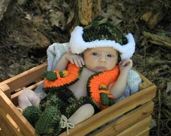 Little Hunter Photo Prop Baby Set - Hat, Diaper Cover, Vest & Booties * Newborn - 12 mos.