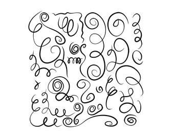 27 Line Art Swirls and Squiggles Images- Digital Clipart - PNG - JPG - Hand Drawn - Limited Commercial - Instant Download - Digital Stamp