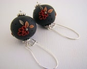 Earrings, Dangle, Red, Yellow, Green, Flowers,Black, Polymer Clay Beads, For Her