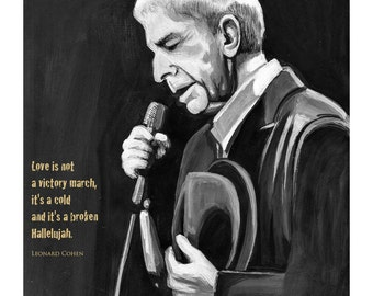 Leonard Cohen - Hallelujah PRINT with lyrics