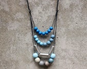 Layer geometric statement necklace, blue, light blue, silver, wooden bead, boho. - LeafFeather