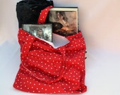 Summer beach tote bag, shoulder bag, book bag, market tote in red with white polka-dot