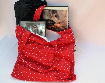 Red polka-dot bag, summer beach bag, shoulder bag, book bag, market tote bag, large tote bag, craft bag, lage red purse, accessory bag
