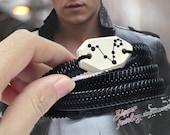 2 Pisces Men's Bracelet, Zodiac Constellations zipper jewelry, Handmade Pottery Bracelets.