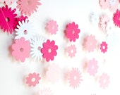 Spring garland, Pink paper garland, paper flower garland, spring decor, girl birthday party decoration, bridal shower, pink baby shower