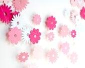 Pink paper garland, paper flower garland, spring garland decor, girl birthday party decoration, bridal shower, pink baby shower