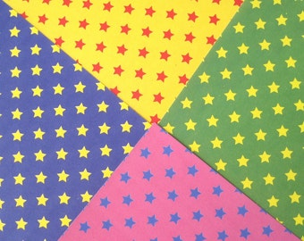 Japanese Origami paper sheets, Colorful Stars origami paper, paper craft supplies, scrapbook paper