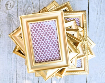 10 Gold Painted Frames - SHABBY CHIC Picture Frames, Wedding Frames - Set of 10 in Metallic Gold