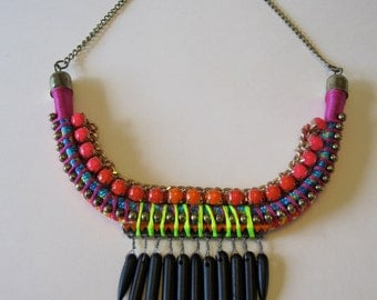 """Neon Tribal Rhinestone Friendship Statement Collar Necklace- """"Quill You Stay The Night"""""""