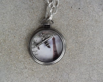 Flight over Paris - Airplane and Eiffel Tower Pocket Watch Necklace