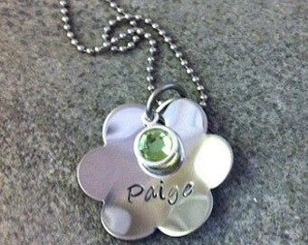 Hand Stamped Personalized Flower Necklace with Birthstone