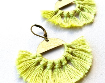 """Citron Yellow Tassels WIth Hammered Vintage Brass Disks, """"Citron Rising"""" Medium Women's Satement Earrings"""