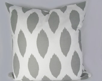 Ikat Grey - Decorative Pillow Cushion Covers - Accent Pillow - Throw Pillow - Indigo, Natural