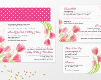 Printable Bilingual Vietnamese Wedding Invitation Set   Invitation,  Reception And RSVP   Ashley Pink Tulips