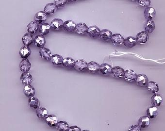 One 16-inch strand (about 50 beads) 8 mm crystal/metallic tanzanite purple firepolished Czech beads - lot 901