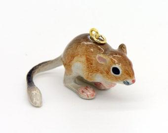 1 - Porcelain Kangaroo Rat Pendant Hand Painted Glaze Ceramic Animal Small Ceramic Mouse Bead Jewelry Supplies Little Critterz (CA264)