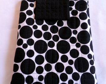 Ipad Cover Black & White - Ipad Cover Case - Notebook Cover - Quilted Ipad Cover - Cotton Ipad Cover - Ipad  Cover
