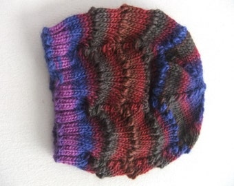 Women's Hand Knit Scalloped Lace Hand Dyed Merino Wool Beanie in Violet Blue Forest Green Brown and Wine