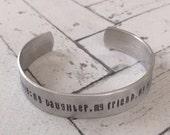 Custom Hand Stamped, Personalized Solid Aluminum Cuff Bracelet