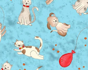 SALE - Henry Glass Fabric - Happy Town Collection - Happy Town Cats and Dogs - Blue-Choose Your Cut 1/2 or Full Yard