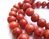 VINTAGE: Red Sponge Coral Necklace - 24""