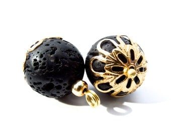 """SUPPLY: 4 Large Black Lave Charms - Dangles - Pendants - 1.5"""" x 0.5"""""""