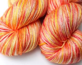"Kettle Dyed Sock Yarn, Superwash Merino and Silk Fingering Weight, in ""Liquid Sunshine"""