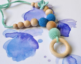 Nursing/Teething Necklace with wooden ring by SimplyaCircle-Breastfeeding Necklace-Eco-Friendly-Mint Blue-Mother's day