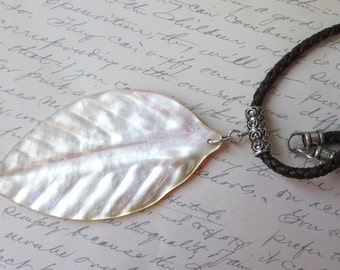 Huge Mother of Pearl Leaf Pendant with Sterling Silver on Dark Brown Braided 4mm Leather